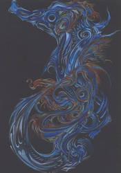blue on black seahorse