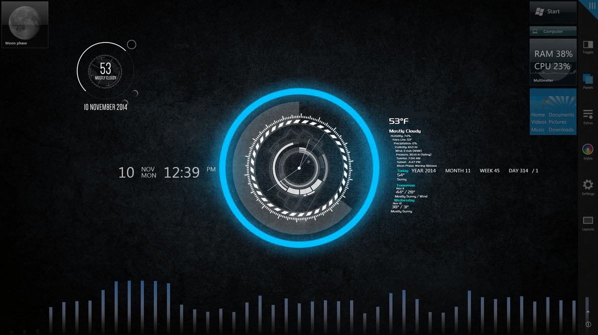 demonstration of rainmeter on second monitor by ehspee on