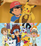 The DigiDestined celebrate Ashs victory!