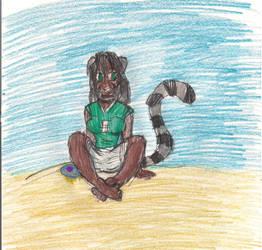 Neko Kimi on the beach by wrytergirl
