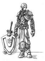 Half-Elf Warpriest of Pelor by peachyco