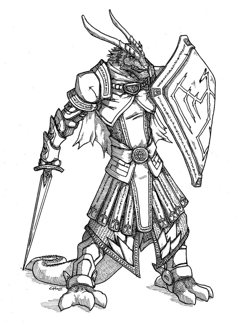 D Line Drawings : Krauser dragonborn warlord by peachyco on deviantart