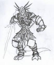 Sketch - Dragonborn Hexblade by peachyco