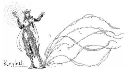 Keyleth, Half-Elf Druid of the Air Ashari by peachyco