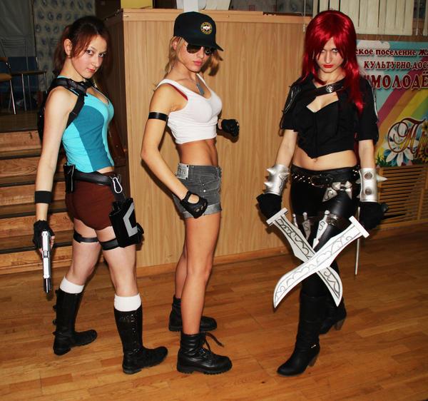 Katarina (LoL), Sonya Blade (MK), Lara Croft (TR) by LiSaCroft