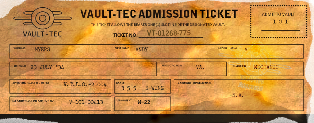 fallout 3 inspired vintage ticket by rodelbanares on