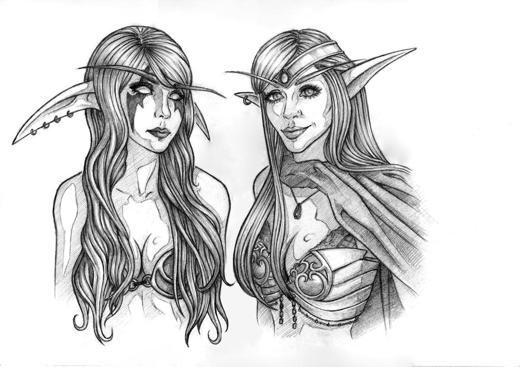 Night Elf and Blood Elf - Lyz and Darshelle cospla by Rachninja95
