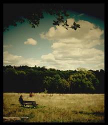 london, sitting on a bench by LaarkK