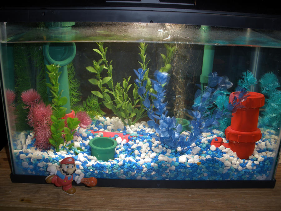 Super mario fish tank by shaunanakin on deviantart for Aquarium decoration paint