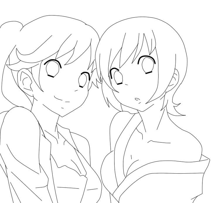 Anime Girl Lineart : Anime girls lineart by eiki nya on deviantart