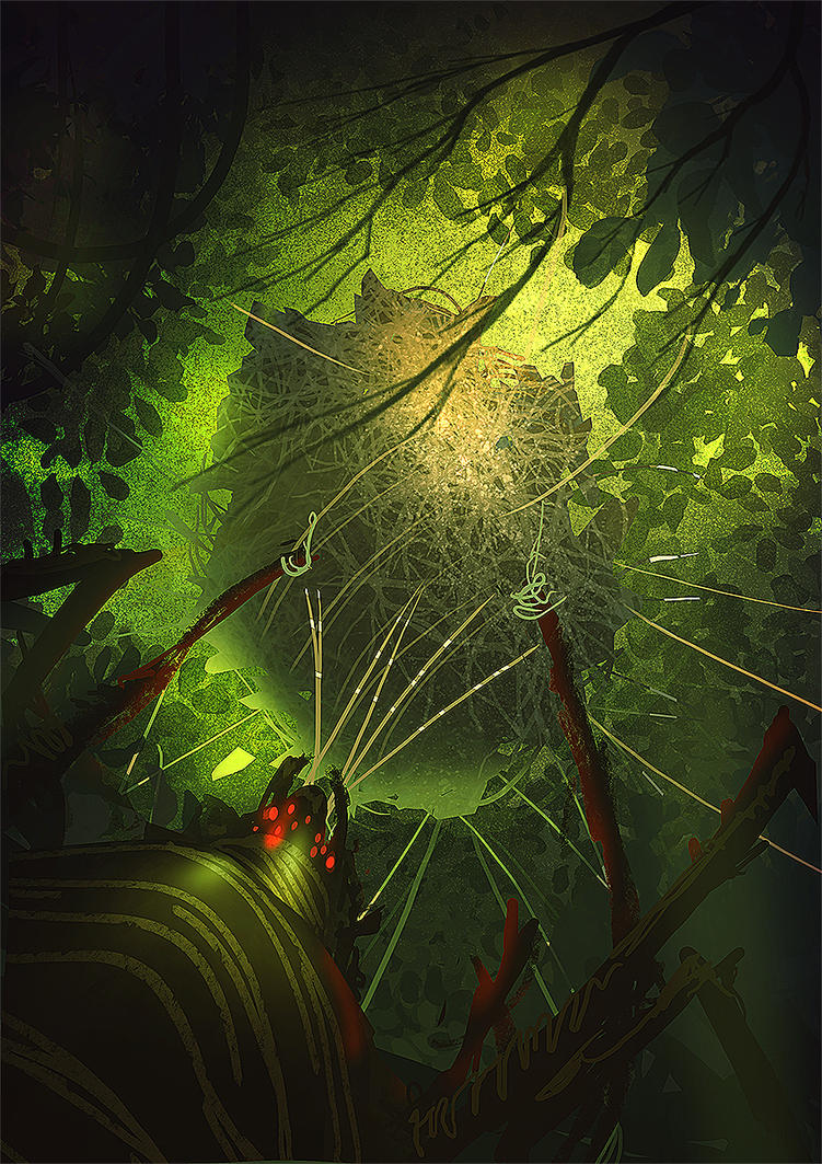 Spider cocoon Daily Spitpaint by nigelhimself
