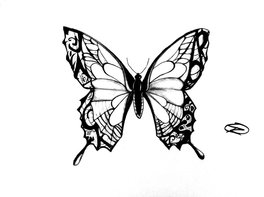 Line Drawing Butterfly Tattoo : Butterfly tattoo design by odrozz on deviantart