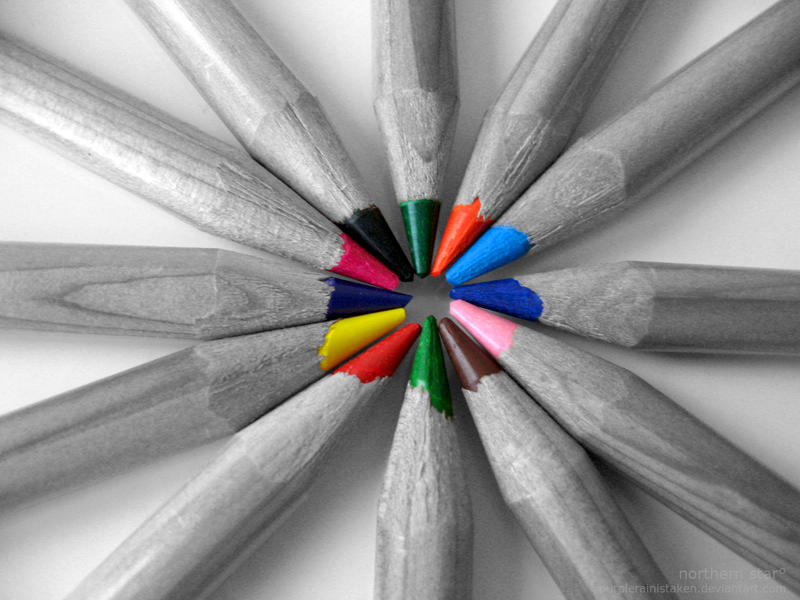 pencil rainbow. by purplerainistaken