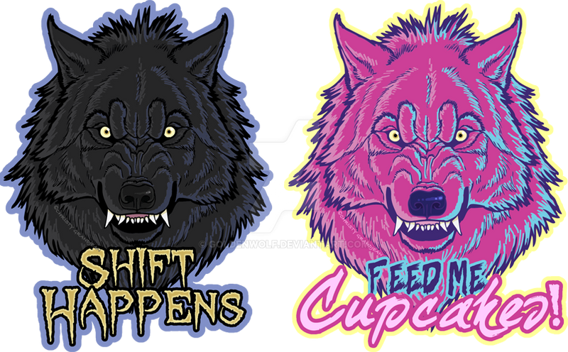 Snarlyfase werewolf stickers by goldenwolf