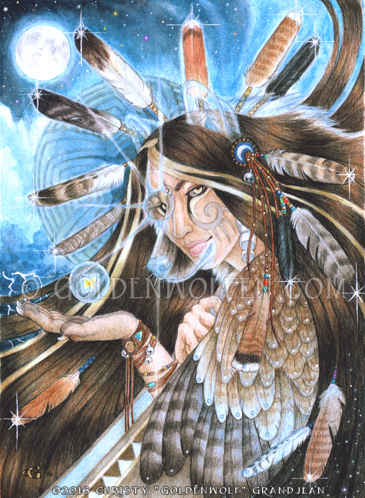 Wind Wolf Woman by Goldenwolf