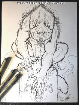 Gravestone Werewolf Patreon Coloring Page