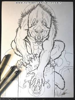 Gravestone Werewolf Patreon Coloring Page
