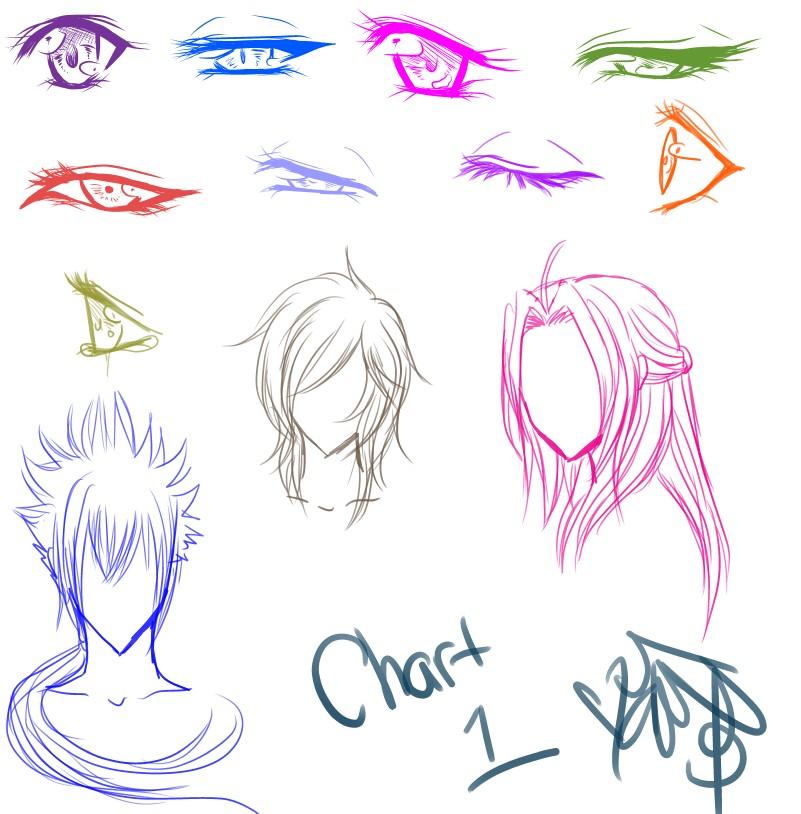 Anime Manga Eyes and Hair Chart by ShikiAriandriNight