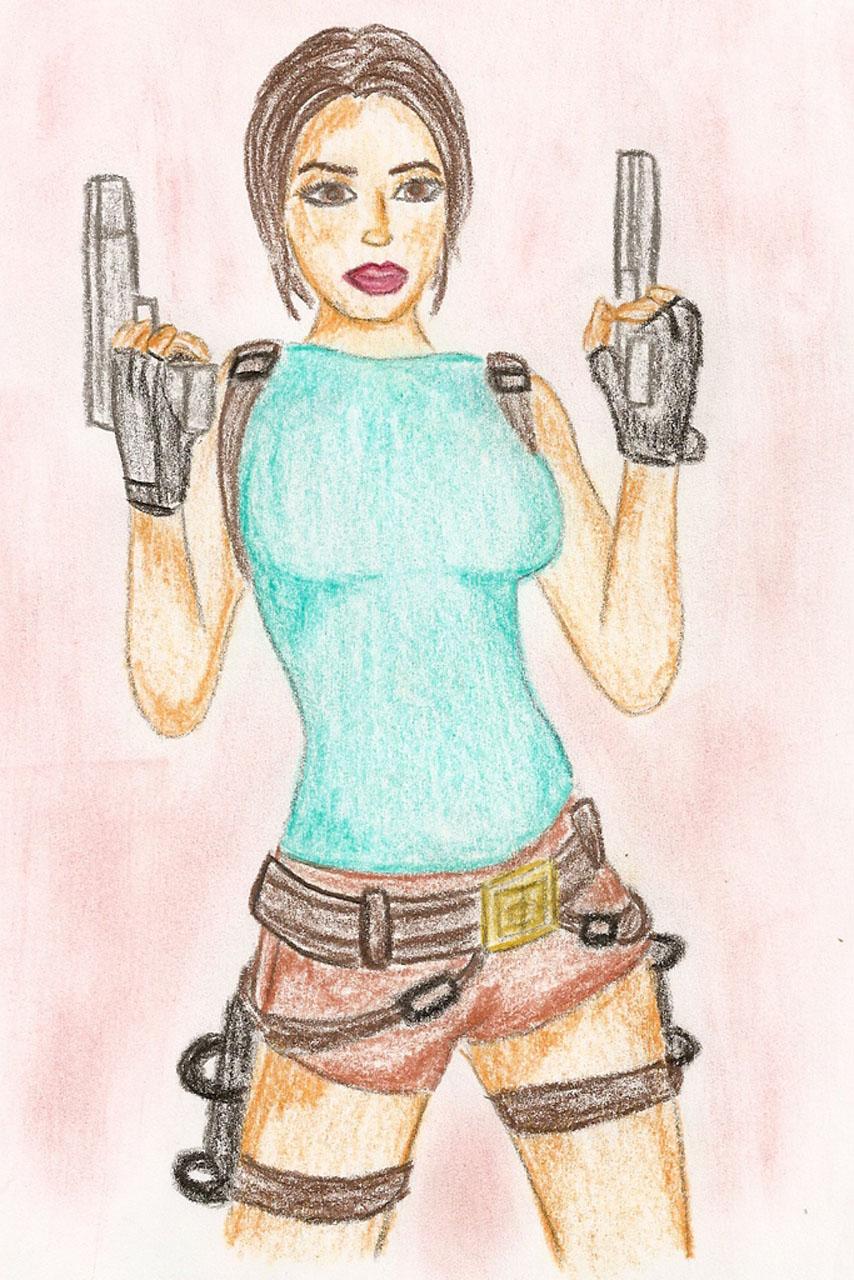 TRA Lara Croft drawing by Badty92