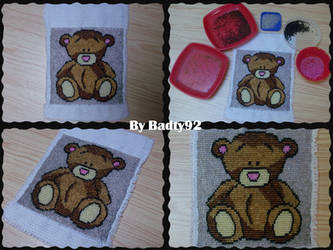 Teddy bear picture with beads