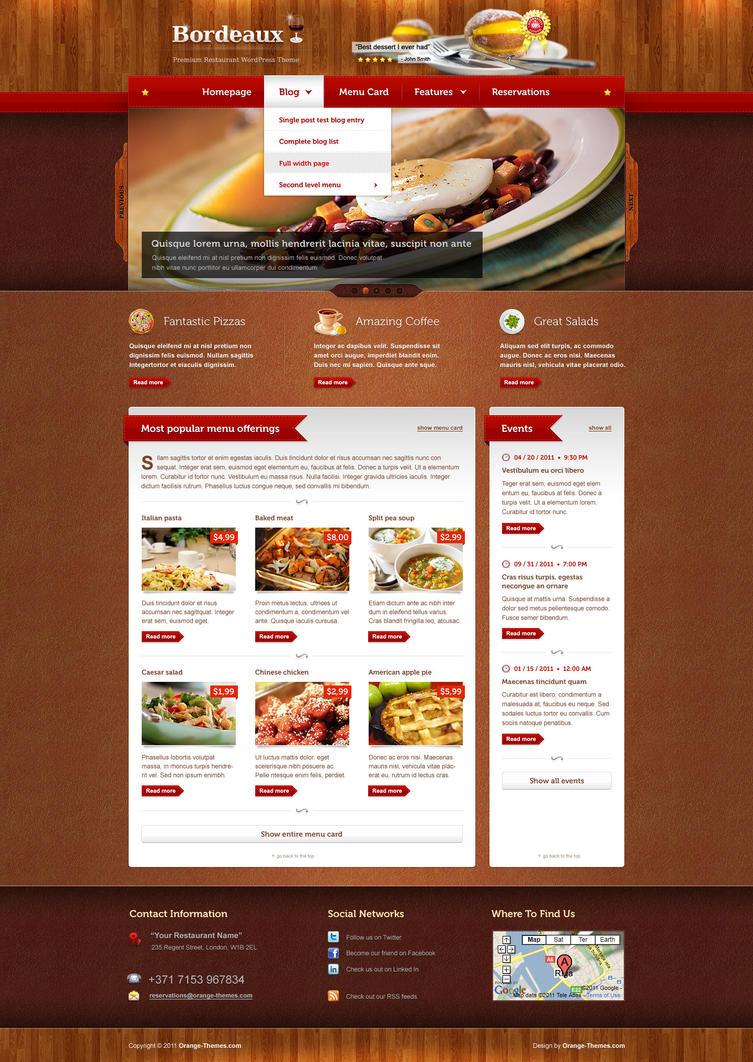 Bordeaux Restaurant WordPress by PremiumThemes