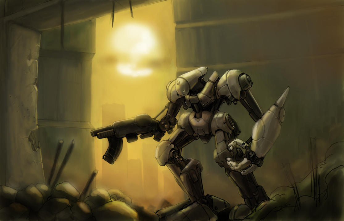 Mech at dawn by Galiford