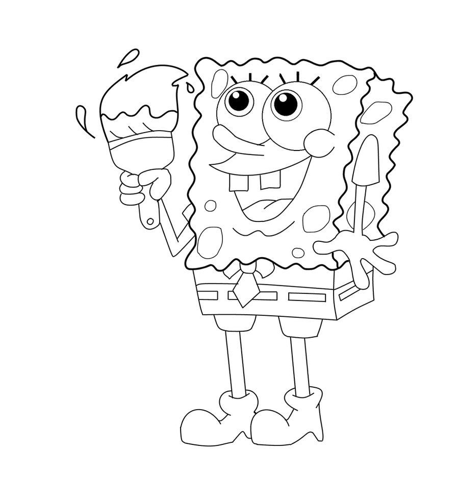 spongebob coloring page by kabocha24 on deviantart