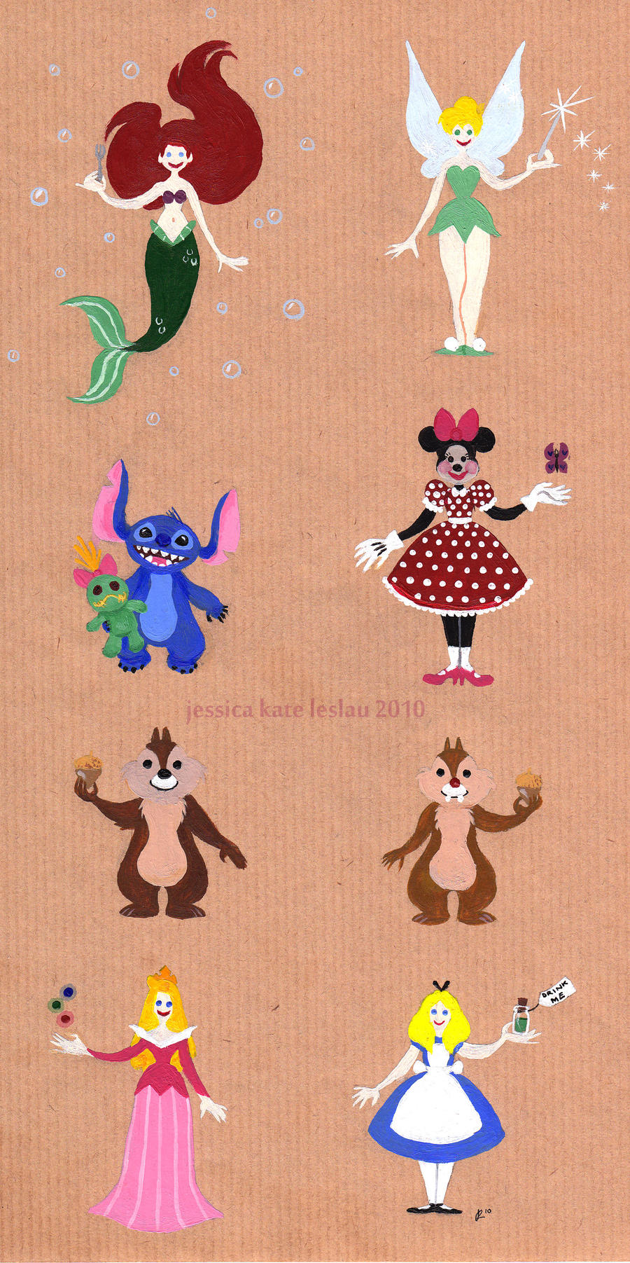 Painted Disney Characters 2 By DaiskiAnimeJ