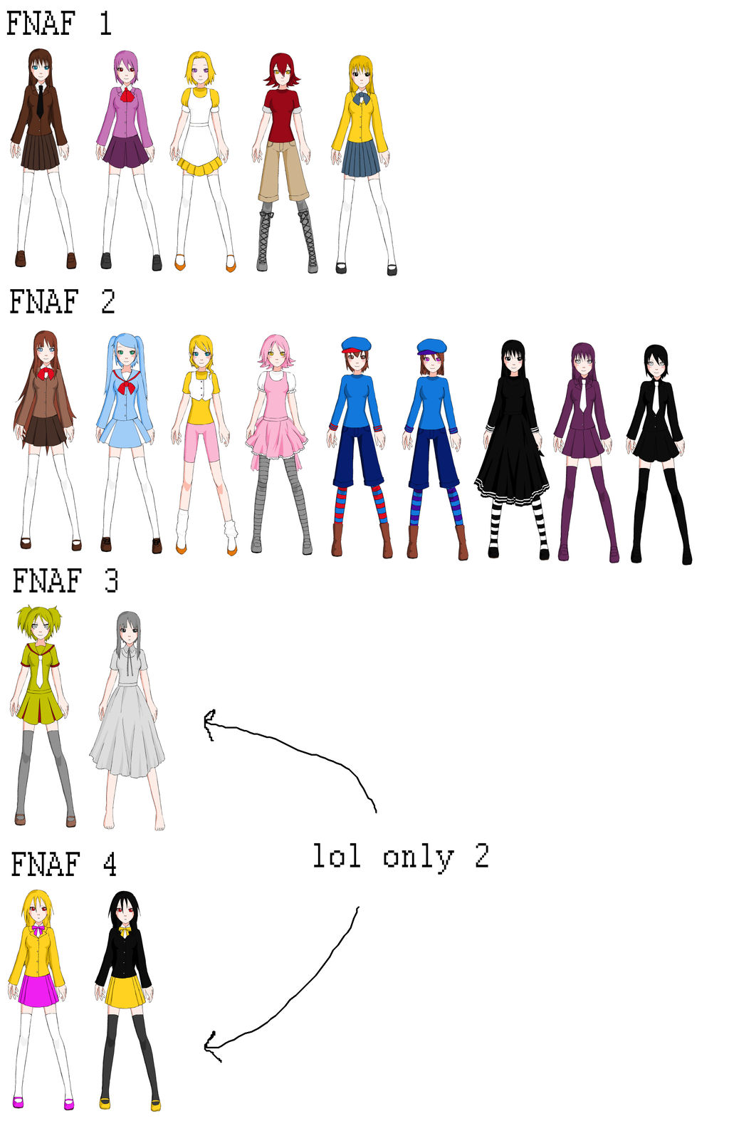 FNAF with school girl dress up v8 by SakuraKasai8 on DeviantArt