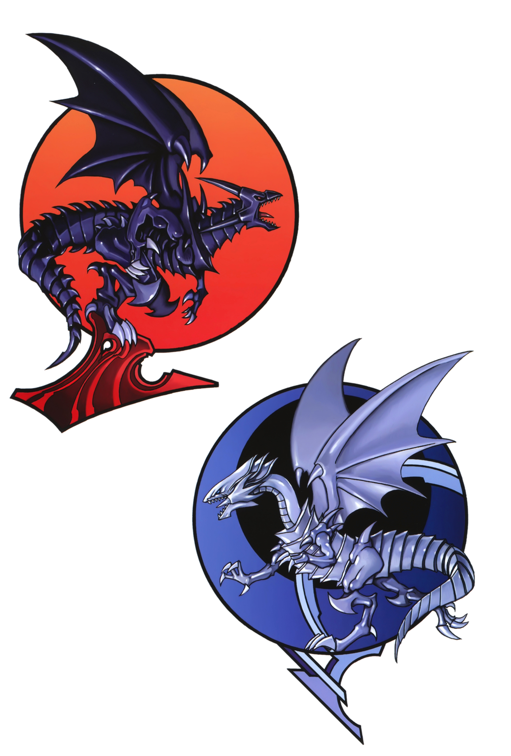 red eyes black dragon and blue eyes white dragon by