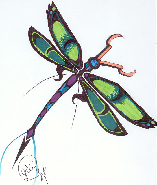 Dragonfly tribal colored - dragonfly tattoo