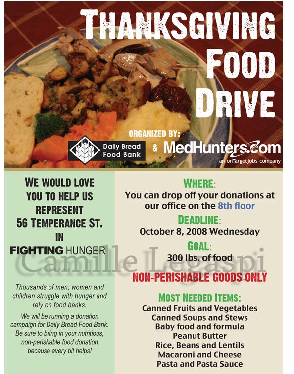 Flyer Thanksgiving food drive by camillelegaspi on DeviantArt – Food Drive Flyer Samples
