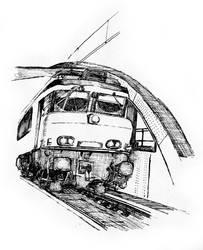 Train on a bridge by ThompArt