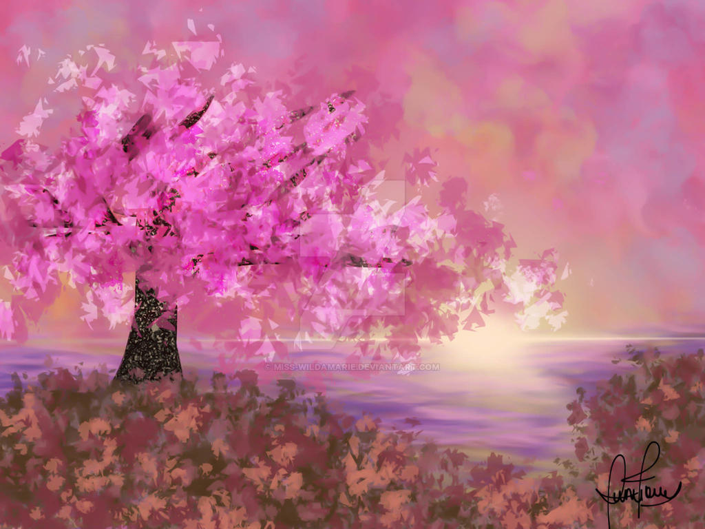 Cherry Blossom Tree Digital Painting by miss-wildamarie on ...