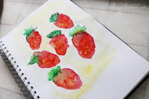 Watercolor - Strawberries || Speedpaint