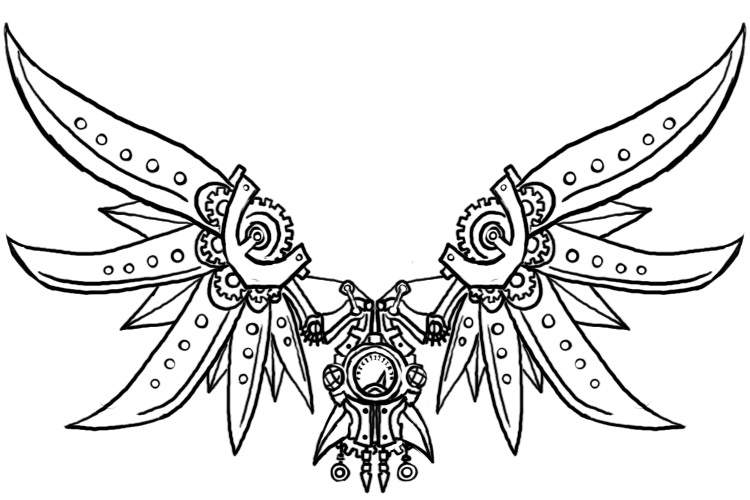 steampunk gears coloring pages - steampunk wings 2 by genesischant on deviantart