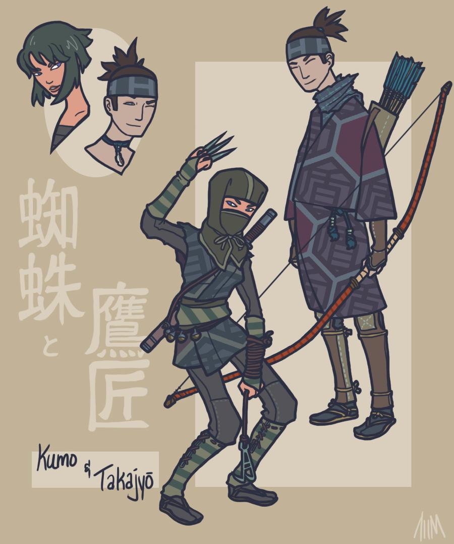 Sengoku Avengers: Black Widow and Hawkeye by genesischant
