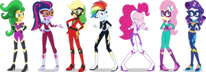 Equestria Girls Power Ponies Vectors by Sugar-Loop