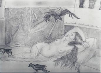 When an Odalisque meets ravens by Elwen22