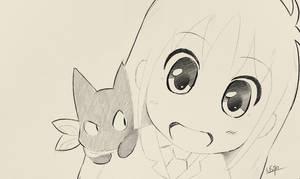 Inktober - Hakase and Sakamoto - Nichijou