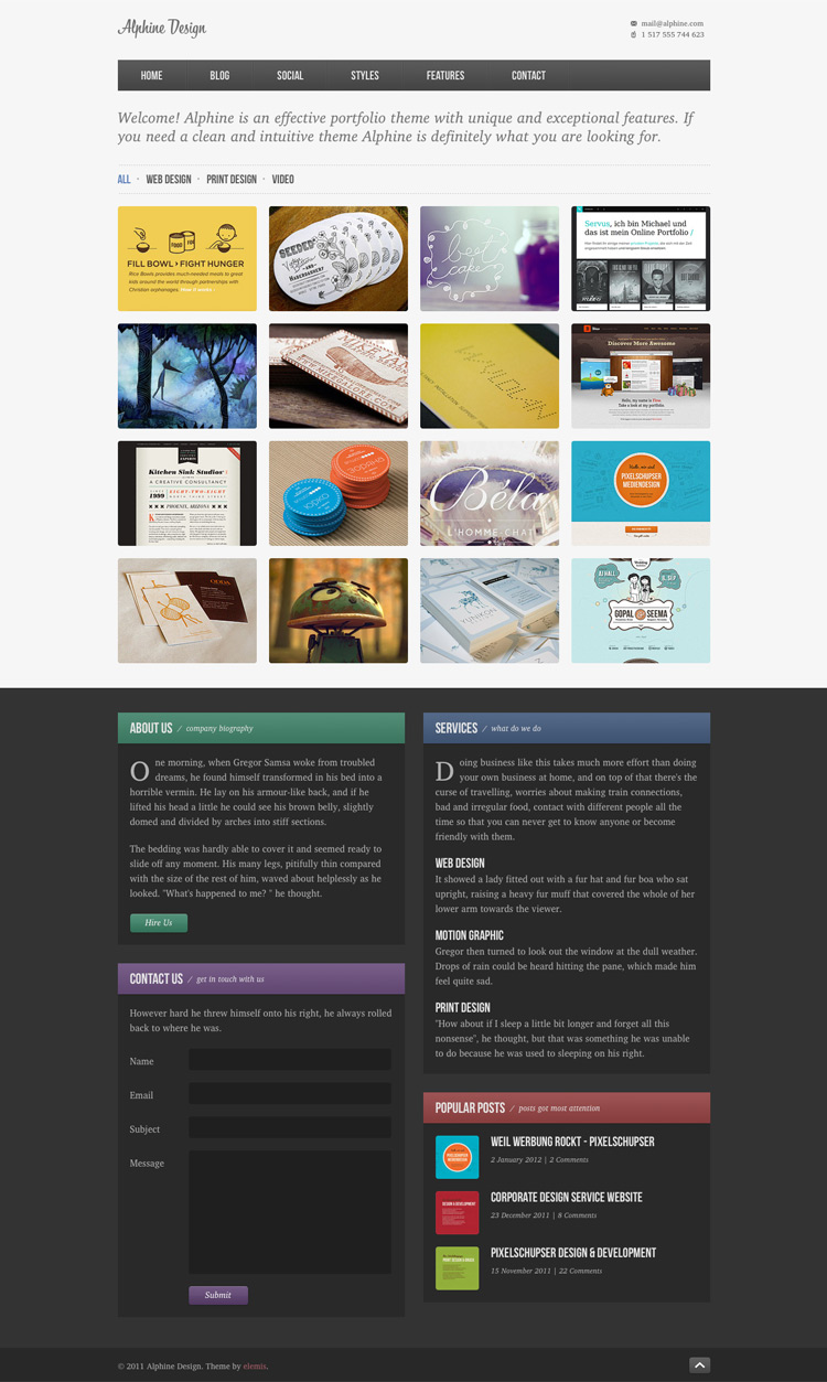 Alphine Free Homepage PSD by elemis