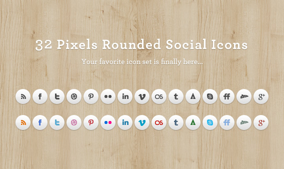 Rounded Social Media Icons Set by elemis