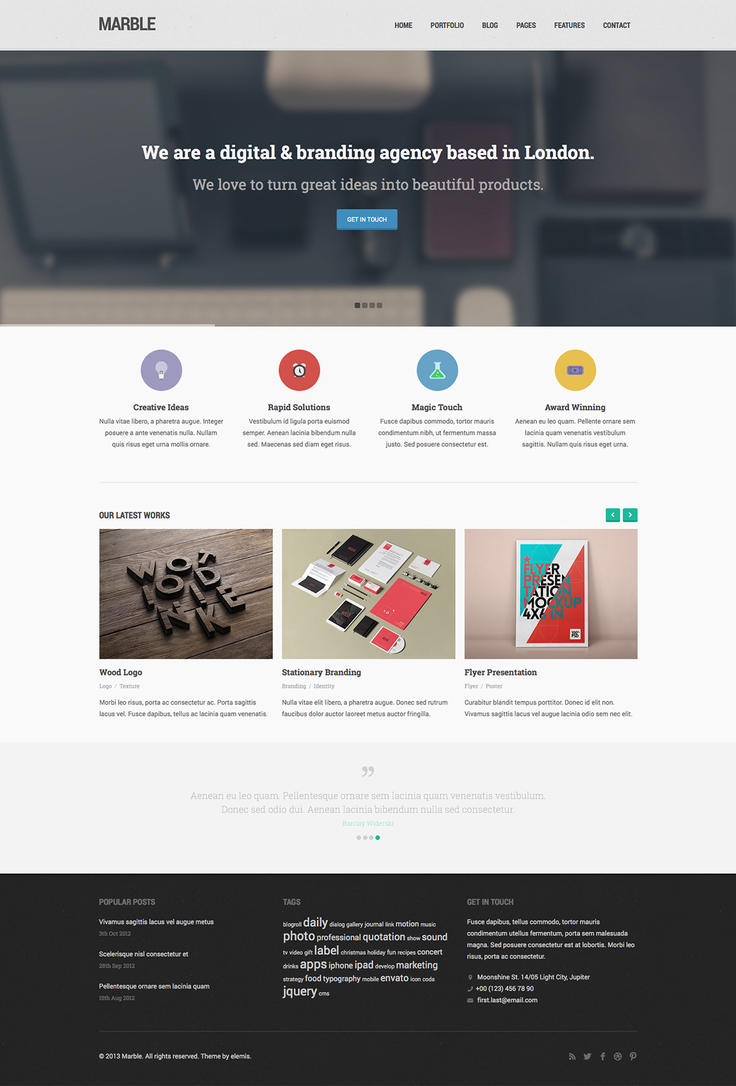 Marble Free Homepage PSD by elemis