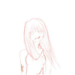 anime-zombie girl by blackinkalana