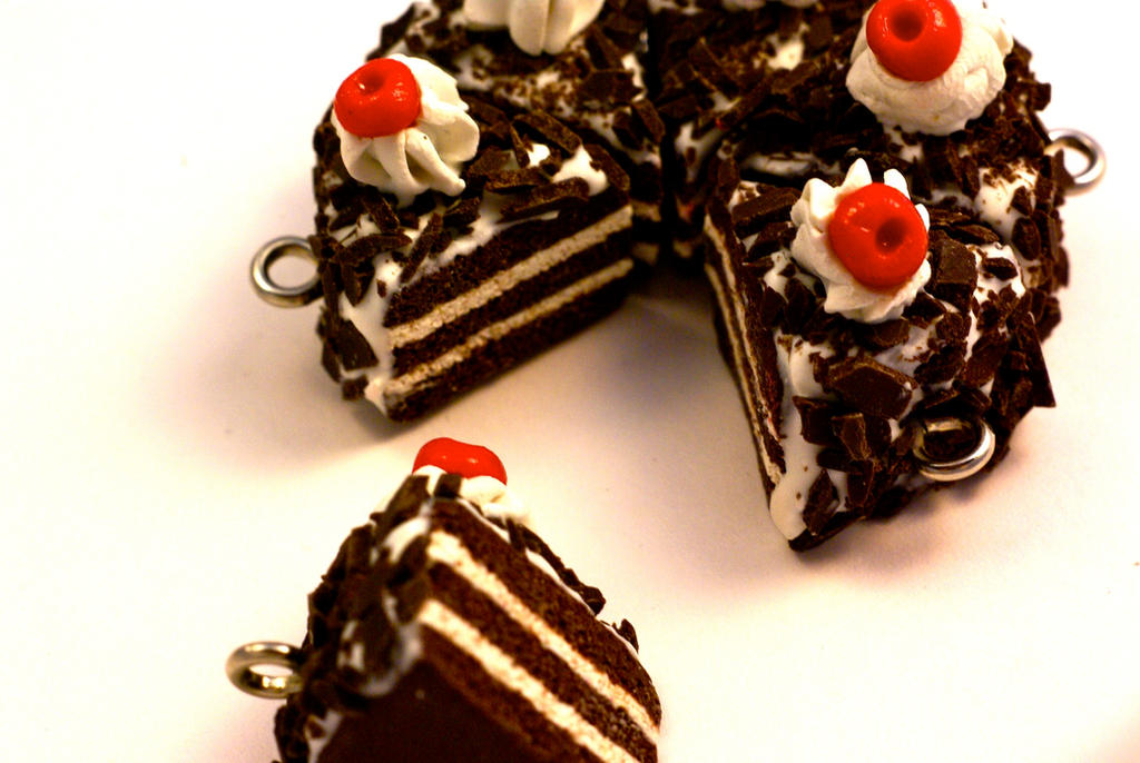 Polymer Clay Black Forrest Cake Charm by TooGoodToEat