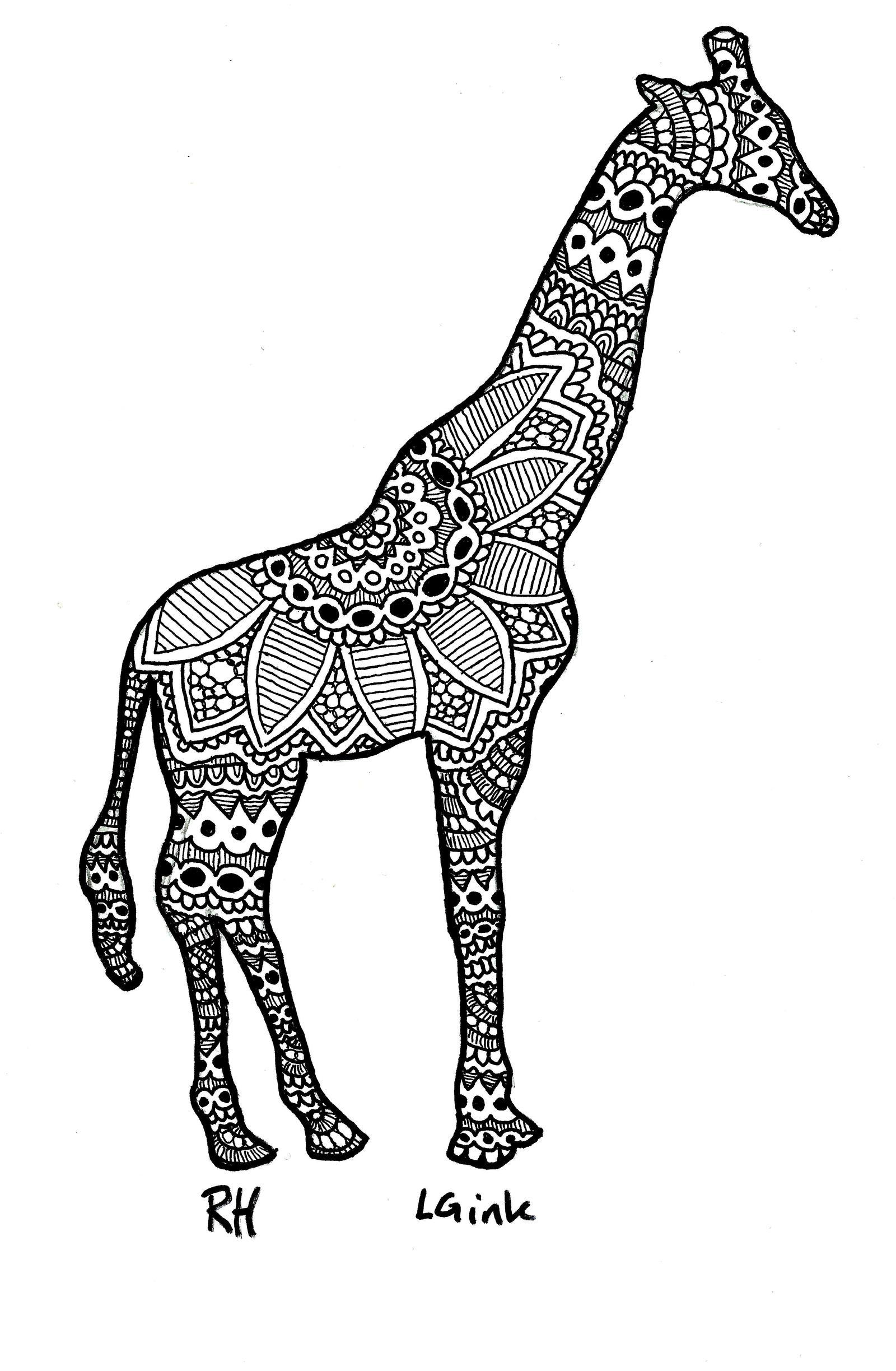 Giraffe motive by littlegore on deviantart for Giraffe mandala coloring pages