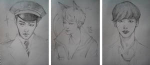 Kai. Tao. Lee JongSuk. Sketch by Cristal03