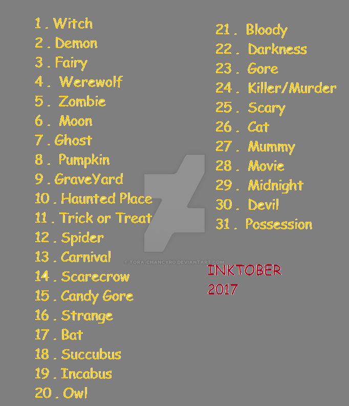 Inktober 2017 List by Tora-chanCyro