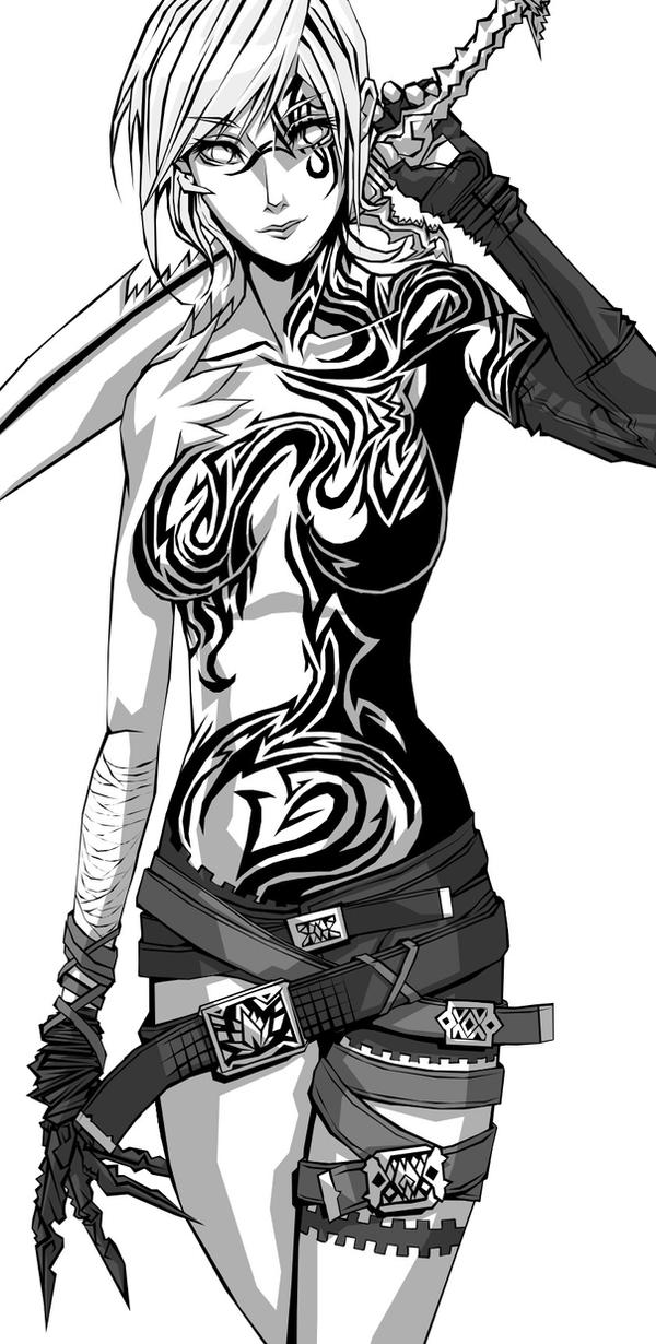 Single Line Character Art : Female warrior by tekkoontan on deviantart