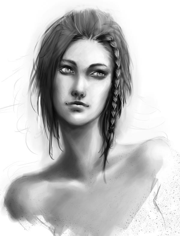 Face Study, Skyrim: Lydia by tekkoontan